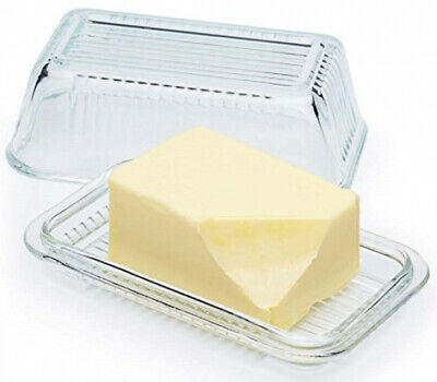 Circleware Farm Glass Butter Dish With Glass Lid, Multi-Purpose Preserving Dish