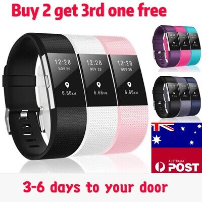 Fitbit Charge 2 Band Various Silicone Band Replacement Wristband Watch Strap New