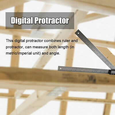 "12/20"" Digital Angle Finder Ruler Protractor Measure Meter Stainless Steel C1X8"