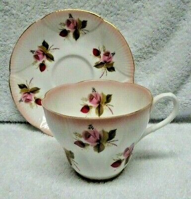 Royal Albert Horizon Series Pink Edge Rose Stencil Cup and Saucer