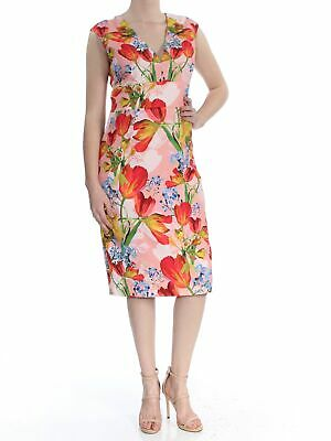f2e97ce4 KAY UNGER $228 Womens New 1020 Pink Floral V Neck Sleeveless Sheath Dress 8  B+