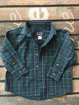 THE CHILDRENS PLACE Little Boys Plaid Button Down Dress Shirt ~ Size 6-9 Month
