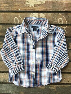 Tommy Hilfiger boys size 24 Month plaid Long Sleeve button front dress shirt