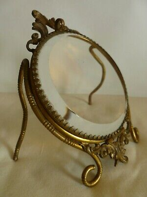 French Art Nouveau Brass & Crystal Glass Picture   Photo Table  Frame