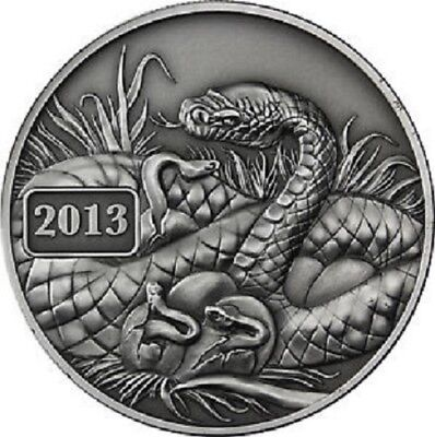 New Lunar Series 2013 Snake - Tokelau 5 Dollar 1 Oz .999 Silver COA