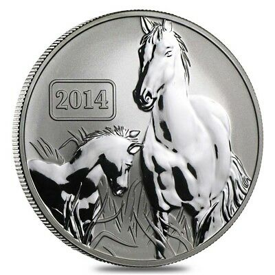 New Lunar Series 2014 Horse - Tokelau 5 Dollar 1 Oz .999 Silver COA Antique Fin