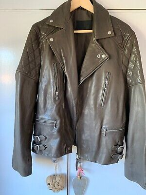 All Saints Mens Medium Brown Leather Jacket New Biker M Fitted