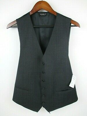 John Varvatos USA Mens Grey Vest Button Down Adjustable 42R Suit NWT New