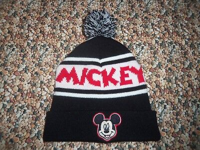 fcb820abdfccf3 NEW MICKEY MOUSE POM BEANIE Gray Red Striped Plush Winter Knit Cap ...