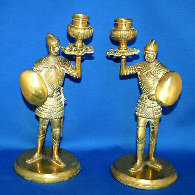 A pair of antique knight brass candlesticks, gothic, medieval, Victorian
