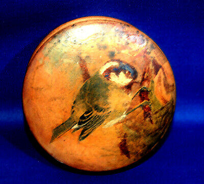 A handpainted antique round wooden snuffbox or powder box with bird, Blue Tit