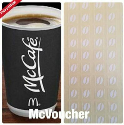 60 McDONALDS COFFEE BEAN STICKERS  LOYALTY VOUCHERS  VALID DEC 2019 ULTRAVIOLET