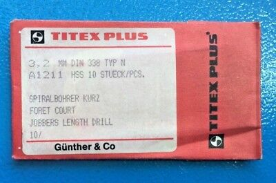 Titex plus 10 Pcs Spiral Drill short 3,2 mm Din 338 Type-N A1211 HSS