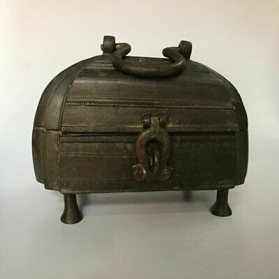 Old or antique brass box or chest for jewellery or coin BUSTER ART
