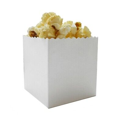 Small Mini Plain White Popcorn Box for Kids Parties / Samples / Exhibitions