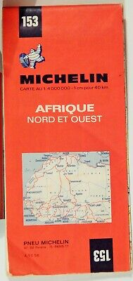 VTG AFRICA NORTH AND WEST 1970 Folded Road Map MICHELIN #153 COLLECTIBLE