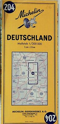 VTG FRANKFURT GERMANY  1973 Folded Road Map MICHELIN #204 COLLECTIBLE