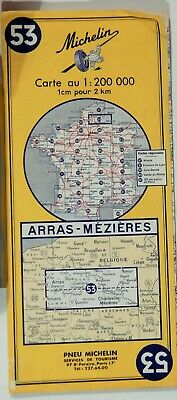 VTG  ARRAS - MEZIERES FRANCE 1969 Folded Road Map MICHELIN 53 COLLECTIBLE