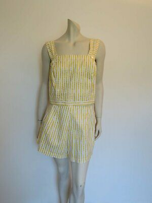 Yellow & White Seersucker Romper, Playsuit - 1950s - Bust 107 cm