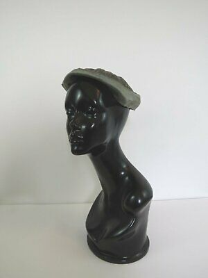 Sage Green Pleated Silk Hat With Bow - 1930s