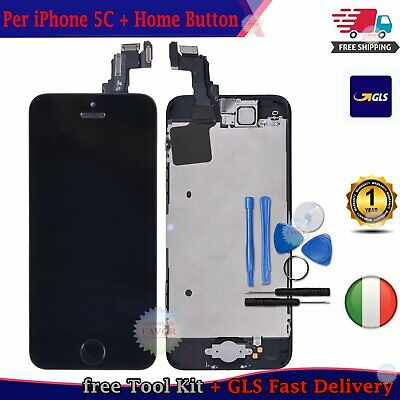 DISPLAY LCD Per iPhone 5C ASSEMBLATO Fotocamera Tasto Home Altoparlante NERO