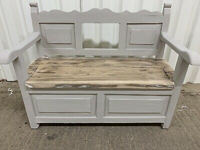 French Grey Shabby Chic Antique Solid Oak Monks Bench Hallway Seat Storage Pew