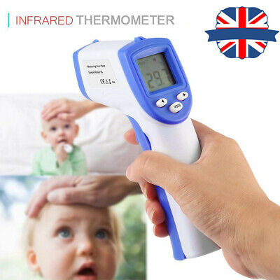 UK Body Skin LCD Digital Non-contact Infrared IR Thermometer For Baby Kids Adult