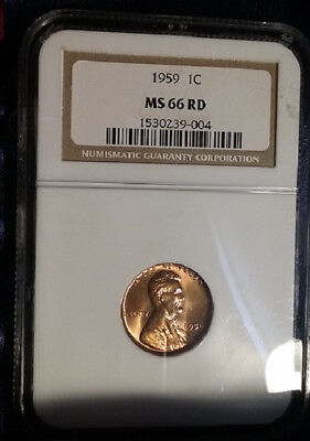 NGC 1959 1C Lincoln Memorial One Cent NGC MS66 RD