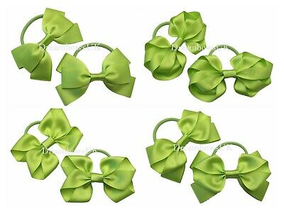 Lime green ribbon hair bows on thick bobbles or clips, summer hair accessories