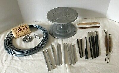 AMACO No.5 Turntable Banding Pottery Wheel USA w Armature wire, Sculpting tools