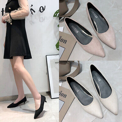 New Ladies Womens Low Mid Kitten Heel Pumps Work Smart Party Pointed Court Shoes