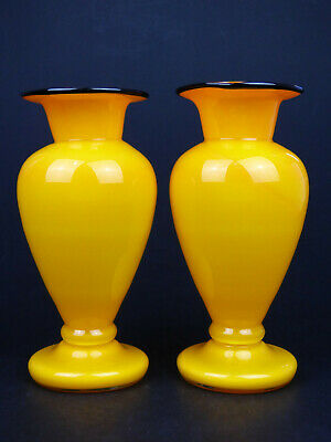 Two orange & black spiral glass vase Art Deco Czech Bohemian pair Tango 30s Welz