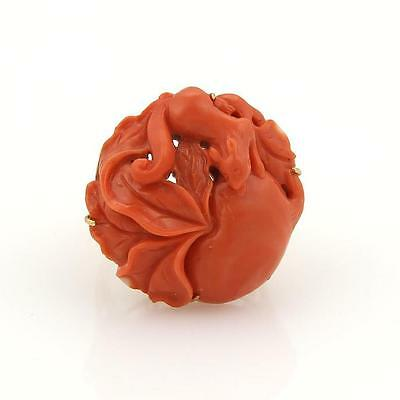 European Vintage 18k Yellow Gold Carved Coral Apple & Squirrel Ring