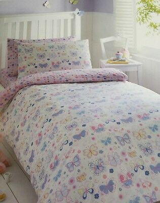 Single Duvet Cover Set Girls Bedroom Butterflies Pink White Blue Multi Bedding