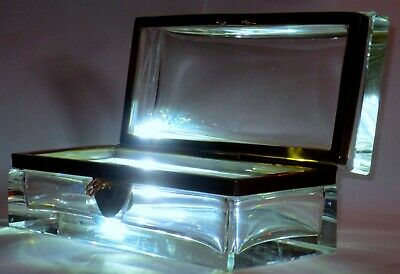 Top Quality Large & Heavy Crystal Casket or Box w/Orig. Key Baccarat Quality