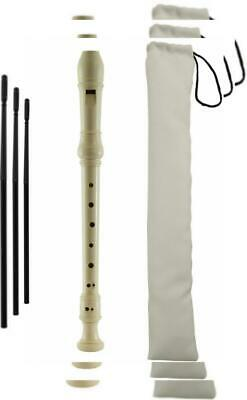 Tiger Descant Recorder - School with Cleaning Rod & Case - White