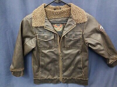 ce244d620 Hawke & Co. Boys Size 5 Faux Sherpa Leather Jacket Bomber Lined Brown Zip Up