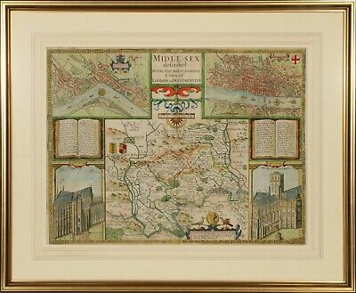 Speed's Map of Middlesex, London, Westminster - 17th Century Edition - Very Rare