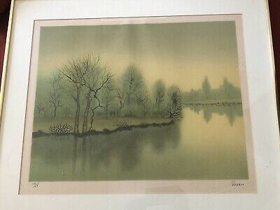 """Pires SIGNED AND NUMBERED LITHOGRAPH PRINT LITHO NICE 22"""" X 28"""" Matted Framed"""