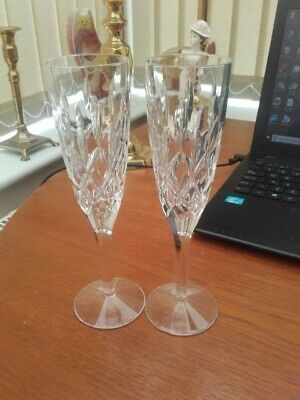 Pair of Stuart Crystal champagne flutes perfrect condition