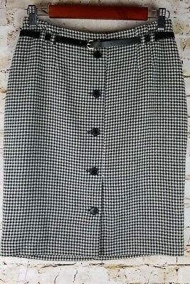3fe208f65 H&M Womens SZ 8 Black White Houndstooth Tweed Skirt Lined Work Office