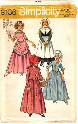 Vtg 1970s Simplicity Sewing Pattern Puritan Colonial Costume DRESS 9136 Sz 8 UC