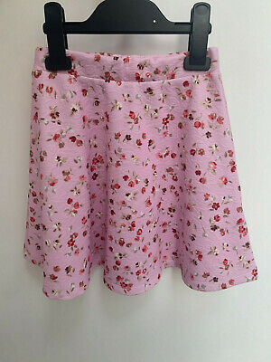 Girls ex River Island Pink Floral Skirt with Roses Age 7-8 Years Old