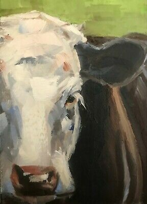 ACEO Original Miniature Oil Painting, Cow Portrait by Gary Bruton