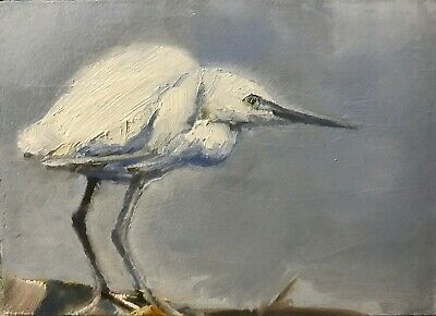 ACEO Original Miniature Oil Painting, Egret, Bird by Gary Bruton
