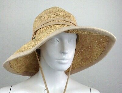 1bc57ff3 SCALA SUN HAT Wide Brim Turquoise Aqua Blue Straw Rolled Brim Womens ...