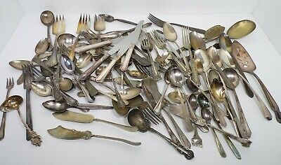 Mixed Lot 85 Silverplate Flatware Various Patterns Forks Spoons Vintage Antique
