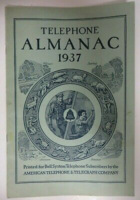 Vintage 1937 TELEPHONE ALMANAC Bell System American Telephone Telegraph Co. RARE