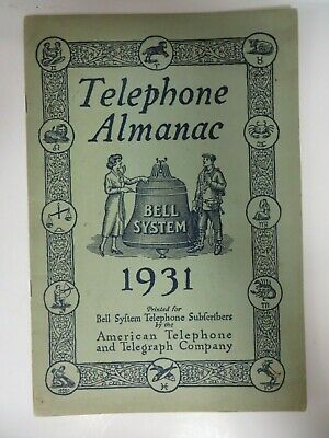 Vintage 1931 TELEPHONE ALMANAC Bell System American Telephone Telegraph Co. RARE