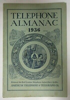 Vintage 1936 TELEPHONE ALMANAC Bell System American Telephone Telegraph Co. RARE